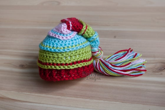Image of Happy Elf Tassel Hat- Aqua, Chartreuse, Red and Pink