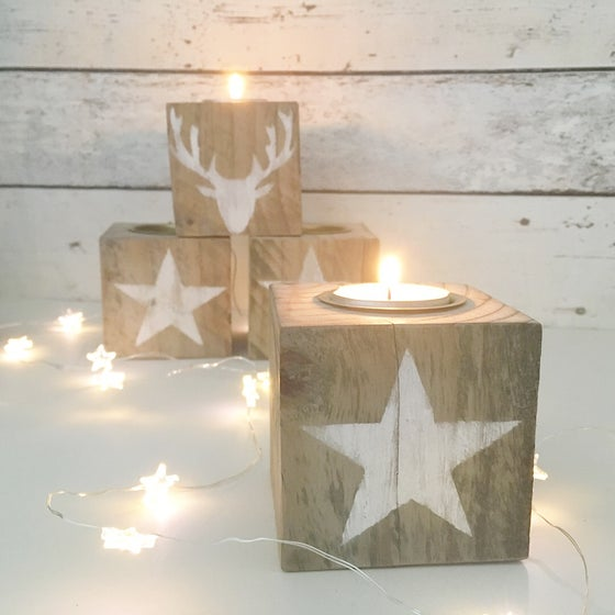 Image of Hand made wooden tealight cubes
