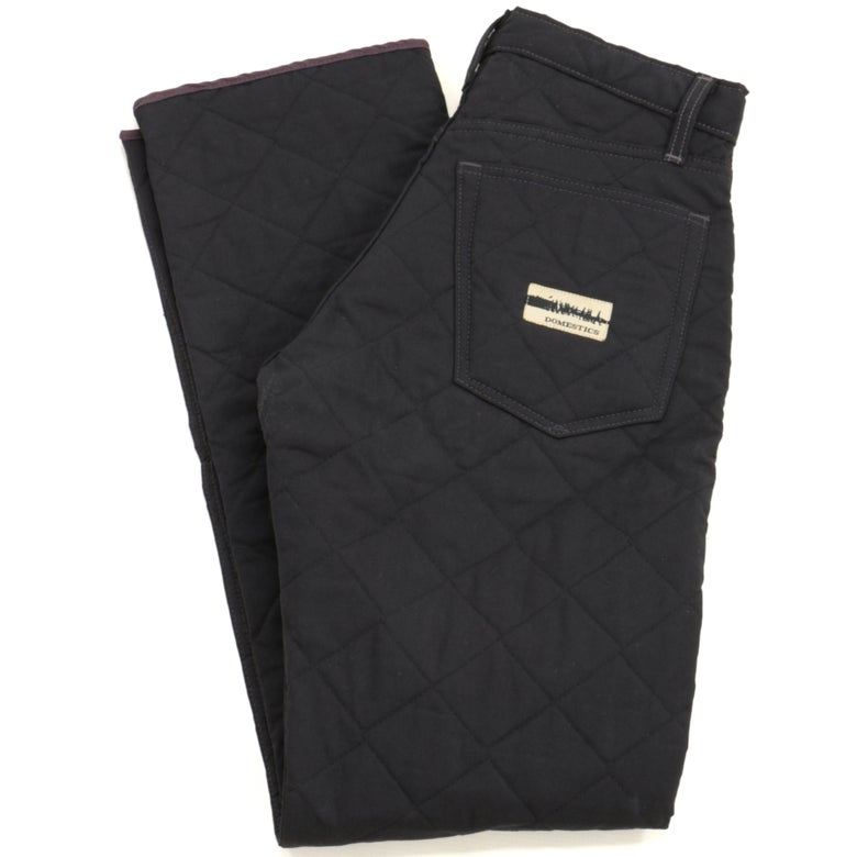 Image of MADE IN USA DOMEstics. Black Diamond Quilted Pants