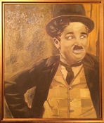 "Image of ""Tramp"" Charlie Chaplin Oil on Canvas Painting Framed 20x24"