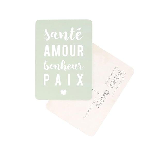 Image of Carte Postale SANTÉ AMOUR BONHEUR PAIX