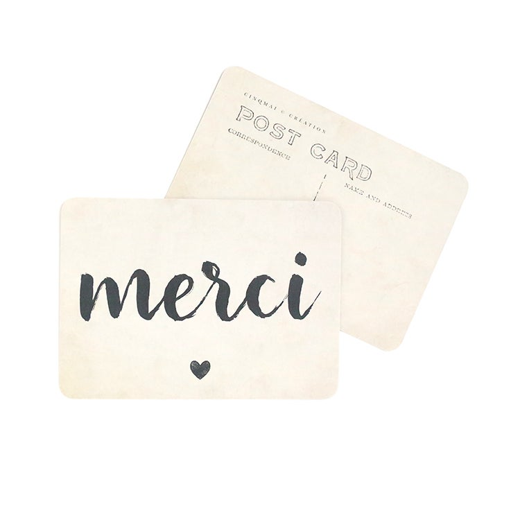 Image of Carte Postale MERCI / JANE / VINTAGE PAPER