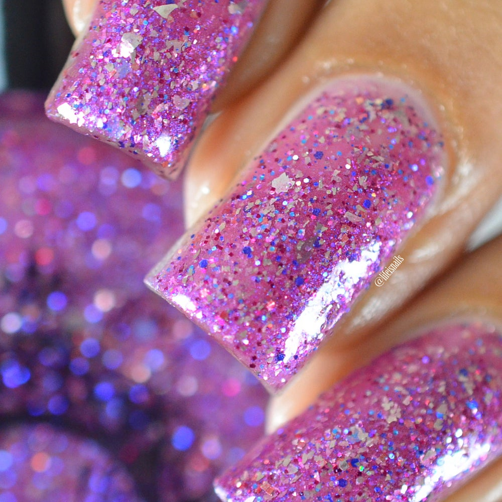 Image of ~Rabble Rouser~ orchid purple w/silver flakes and blue & magenta microglitters!