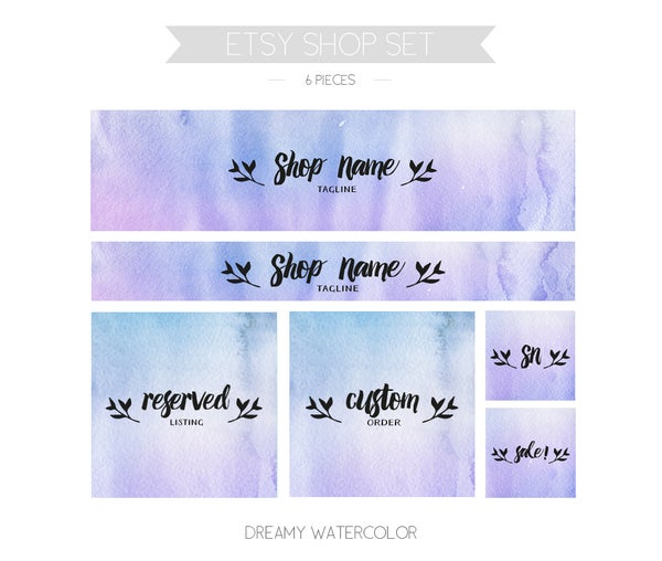 Image of etsy shop set - watercolor