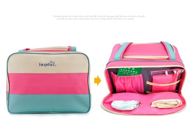 Image of Colorful stripe diaper bag