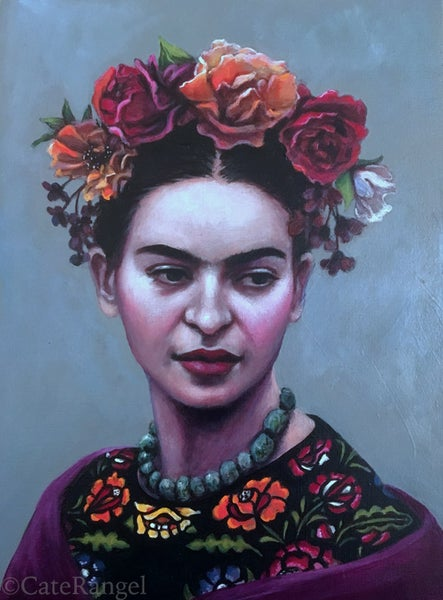 Image of Frida in Black Huipil - Framed Original Painting SOLD