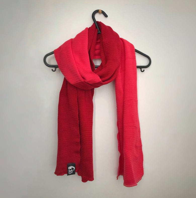 Image of Strange Two-tone skull scarf (Red/Cherry)