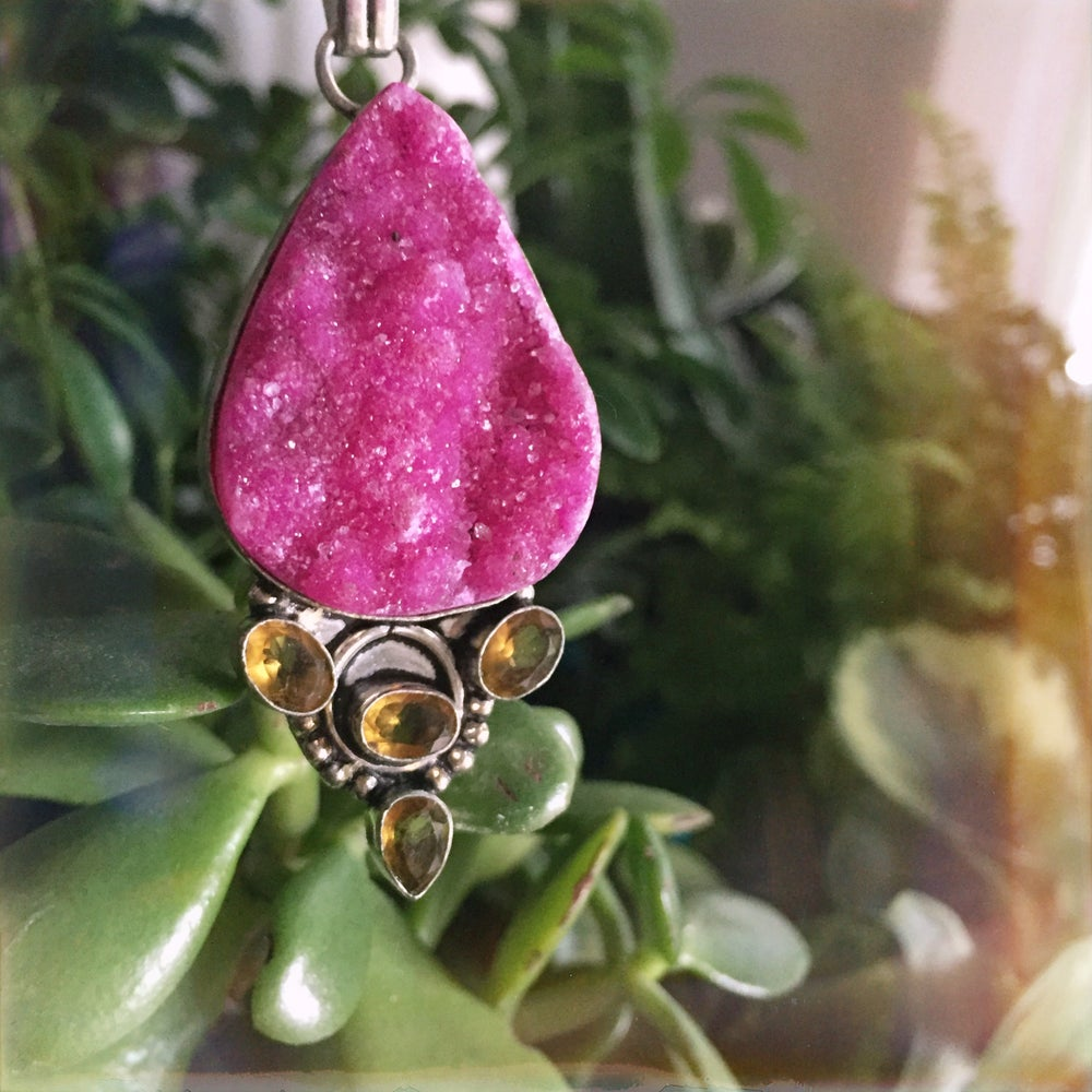"""Image of """"Sugar Droplet"""" Druzy & Golden Topaz Sterling Necklace"""
