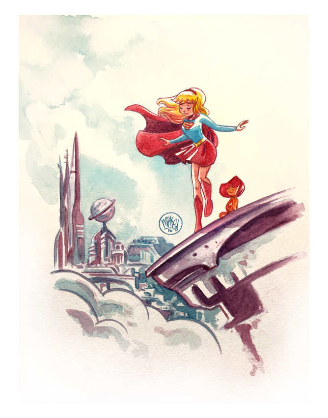 Image of Supergirl and Streaky Watercolor