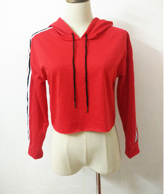 Image of Fashion stripe lace hooded jacket