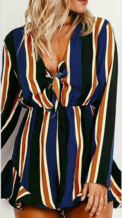 Image of Fashion print stripe jumpsuits