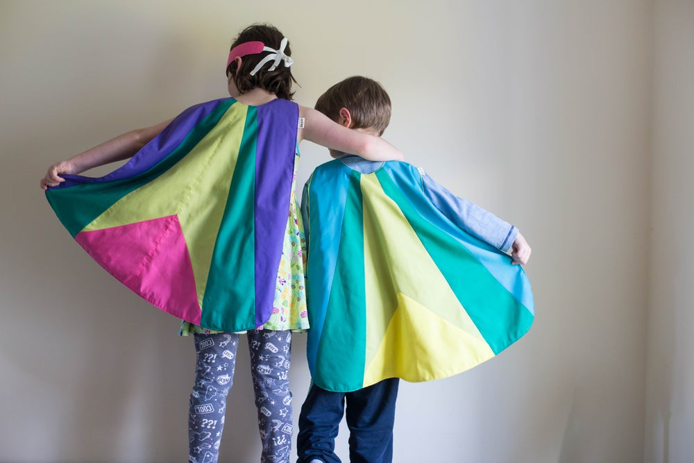 Image of Grasshopper colour block cape + crown