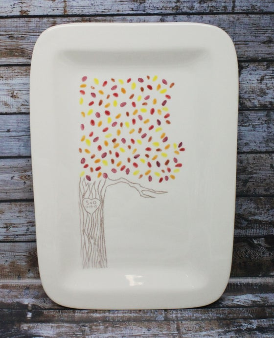 Image of Custom Wedding / Anniversary / Engagement Platter Tree with Leaves