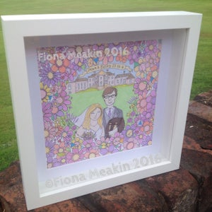 Image of Personalised WEDDING Illustration 18cm x18cm OR A4