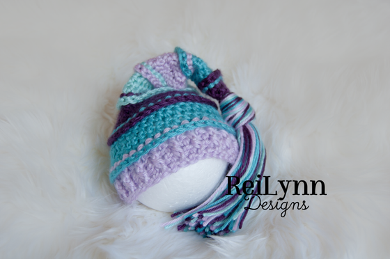 Image of Plum, Turquoise, Lavender and Aqua Tassel Hat