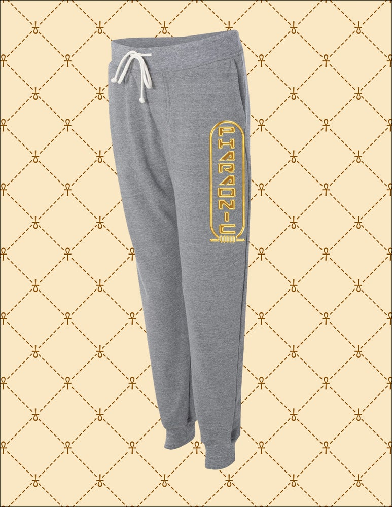 Image of Unisex Pharaonic Logo Athletic Grey Sweatpants
