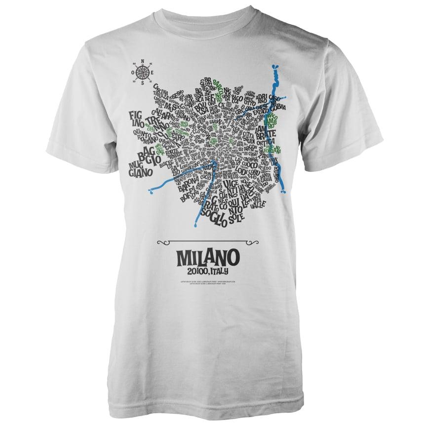 Image of Milan Typographic Map T-Shirt