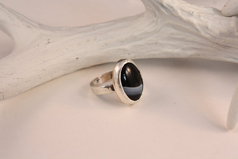 Image of Oval Tuxedo Onyx Sterling Silver Ring/ONYX ESTELLE