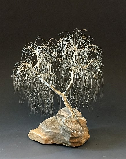 Image of Wepping willow Silver Wire Tree Art Sculpture - 2343