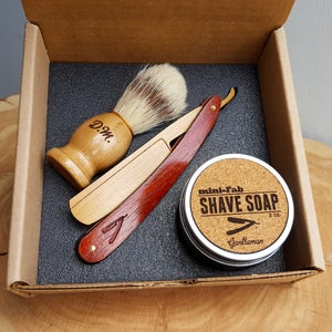 Image of Kid's Wood Straight Razor Shave Kit - Personalized Children's Wood Gift Set with Brush and Soap