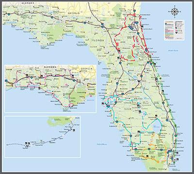 Florida State Road Map.Roadrunner Motorcycle Touring Travel Florida State Road Map