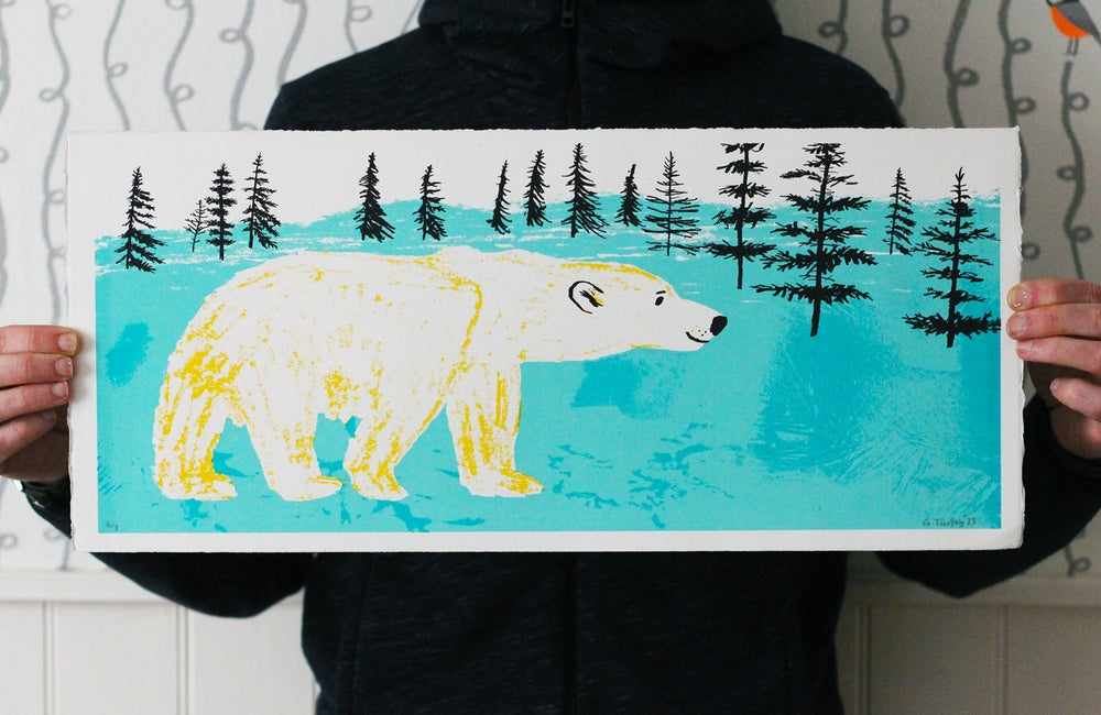 Image of Polar bear screenprint