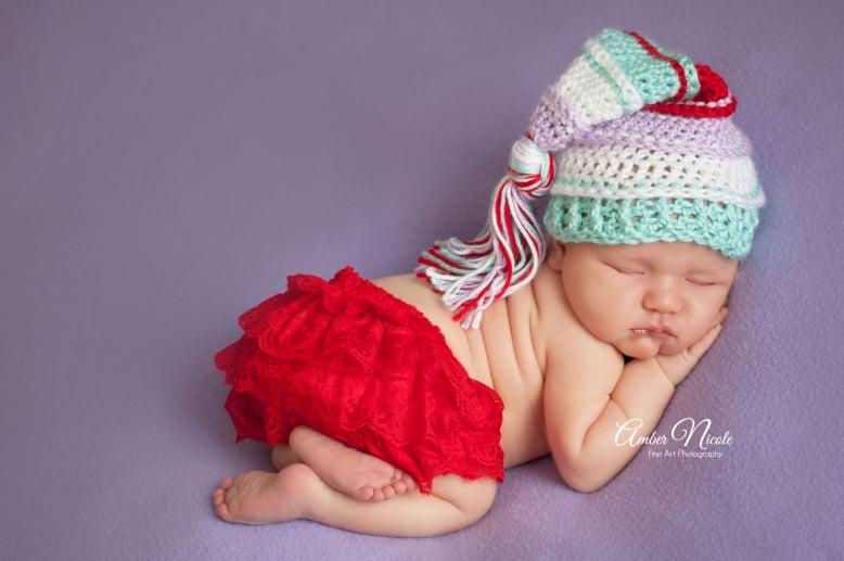 Image of Lavender, White, Aqua and Red Tassel Hat