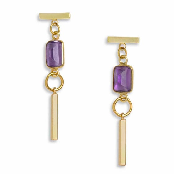 Image of AMETHYST & GOLD BAR EARRINGS