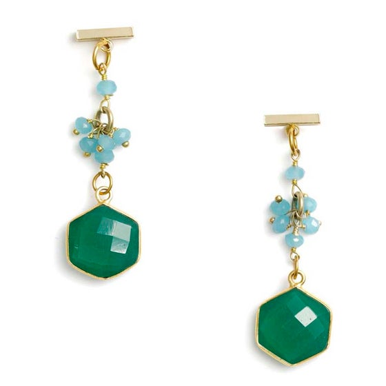 Image of GREEN ONYX HEXAGON EARRINGS
