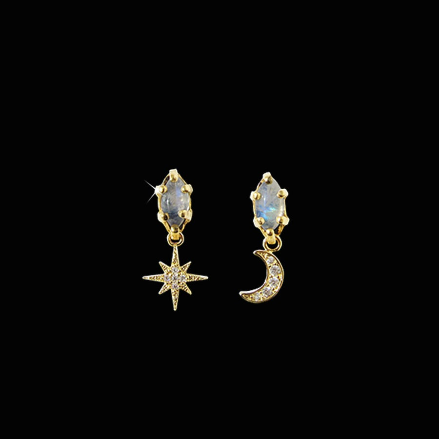 Image of Rainbow Moonstone Night Sky Earrings