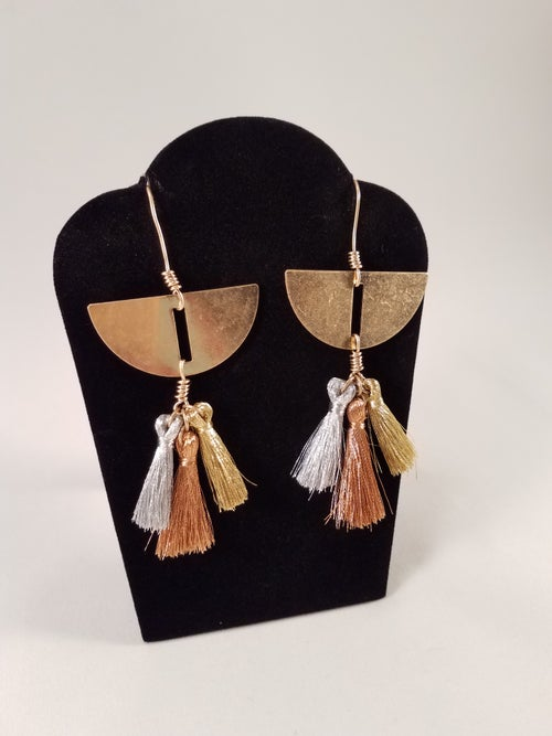 Image of Half-Shield Tassel Earrings