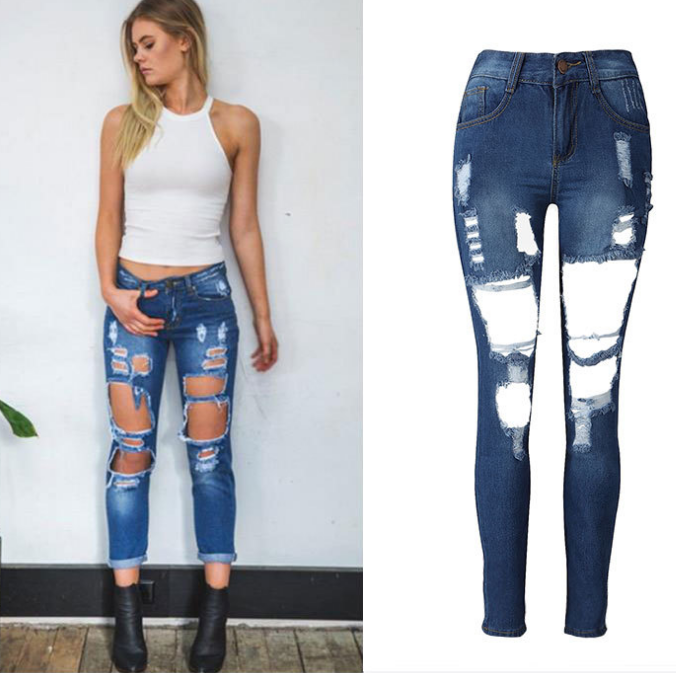 Image of Hot sale girl hole jeans loose jeans long trousers