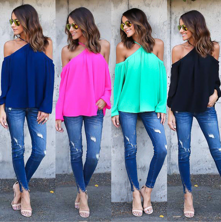 Image of Sexy off-the-shoulder sling chiffon blouse
