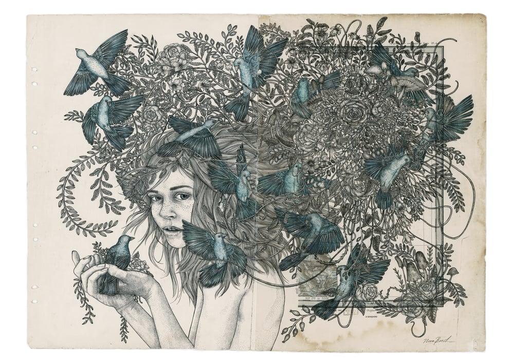 Image of Katinka med fugl