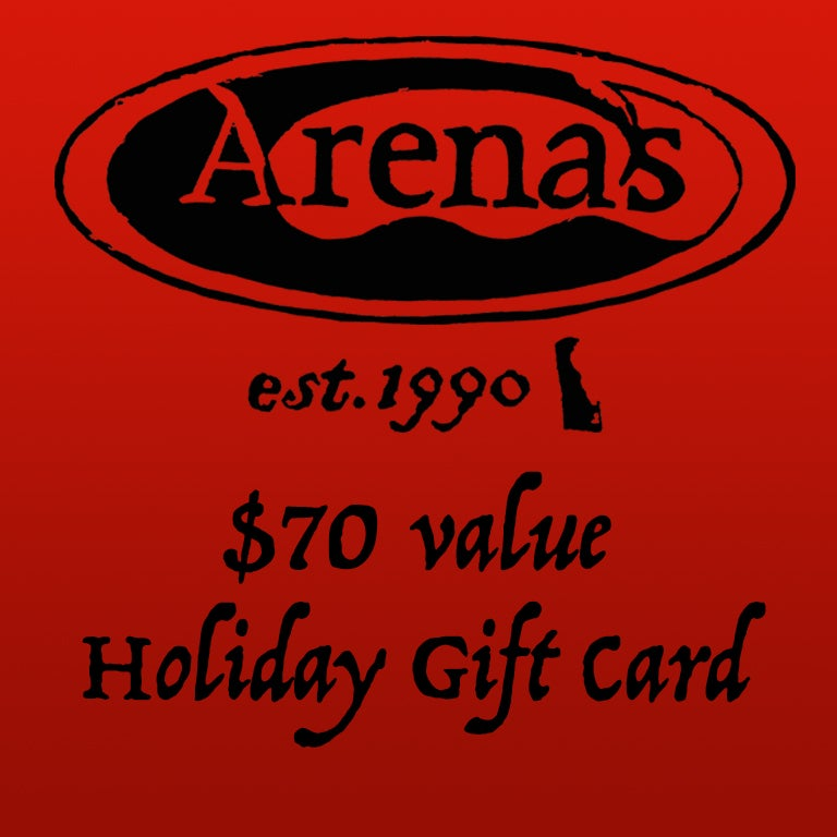 Image of $70 value Arena's Holiday Gift Card.
