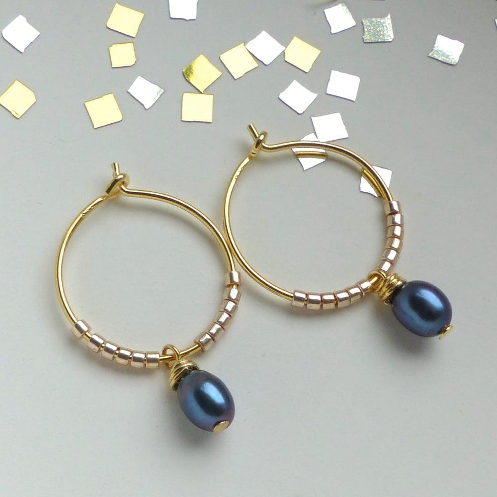 Image of Peacock Freshwater Pearl Hoop Earrings