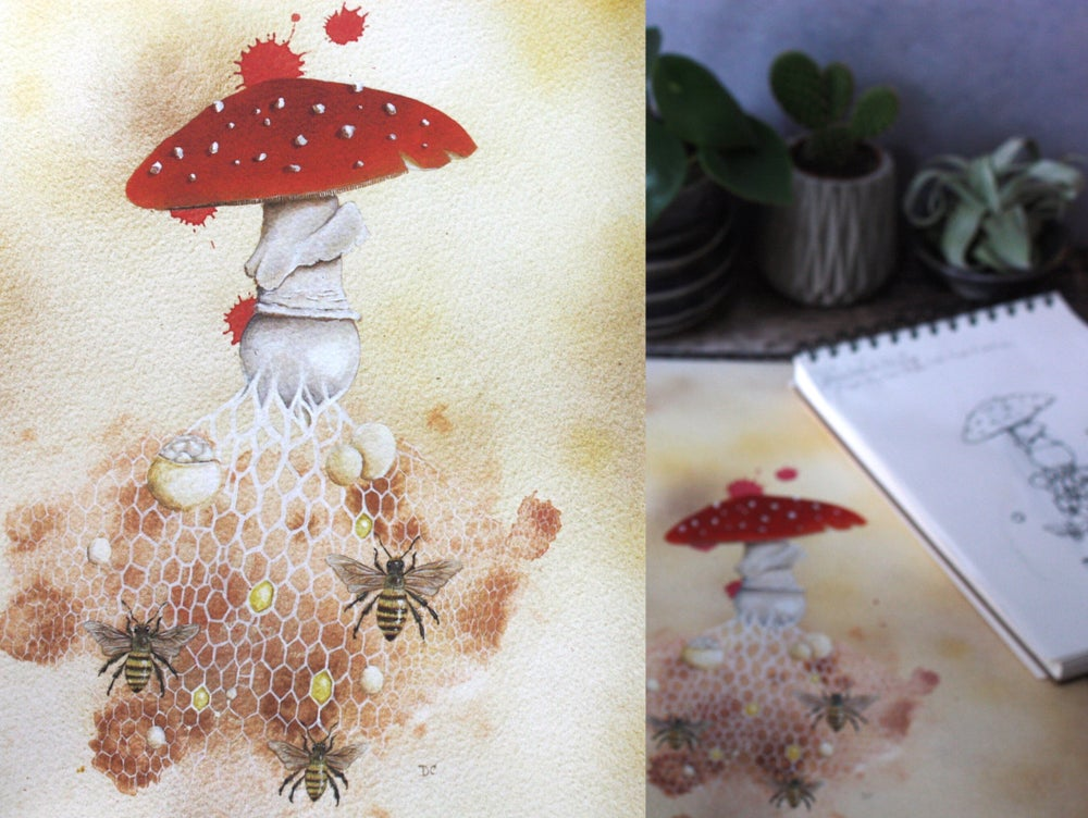 Image of The Bee Agaric. Professional digital A4 print