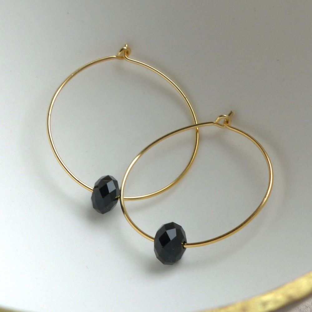 Image of Hoops Elaborated With Swarovski Crystals In Jet Black