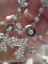 EDWARDIAN 18CT DIAMOND ENCRUSTED DROP EARRINGS