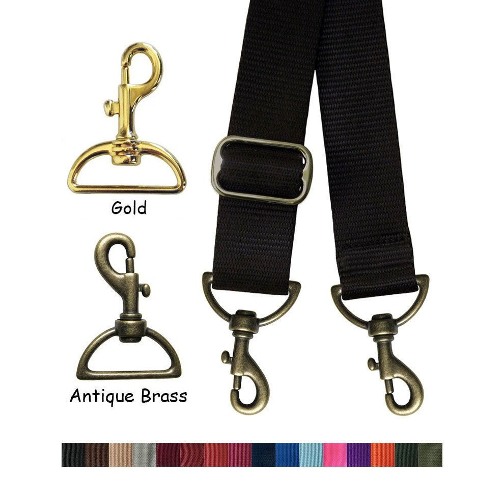 """Image of Nylon Webbing Strap - Adjustable - 1.5"""" (inch) Wide - Choose Color & Length with Hook Style #19"""