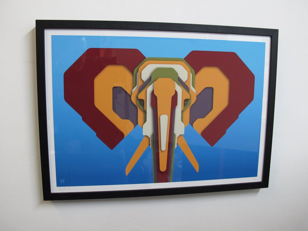 Image of Technicolour Pachyderms V.1 Framed