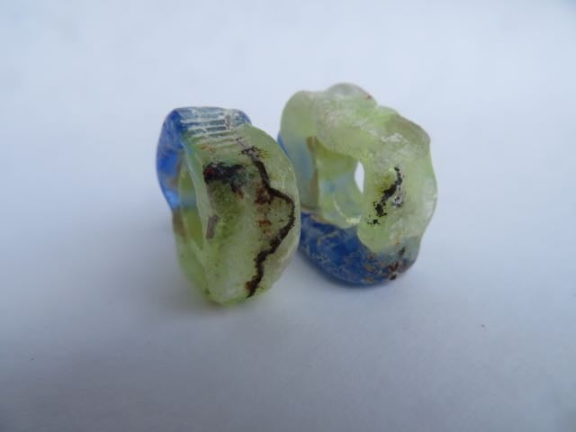 Image of wild beads in lime and blue