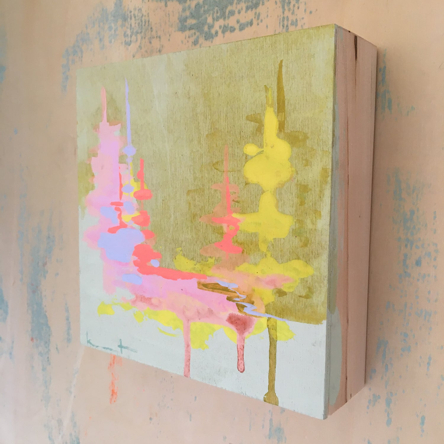 Image of Tiny Painting No. 62 (pond, neon creamsicle, mist)