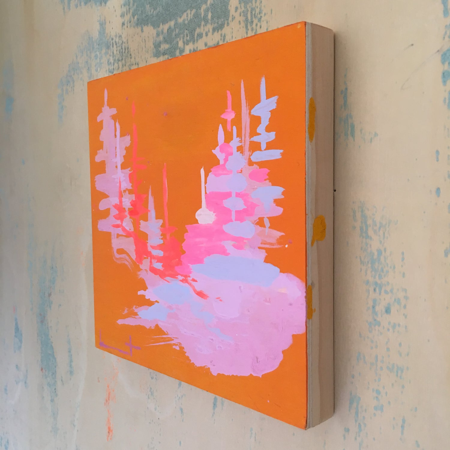 Image of Tiny Painting No. 59 (tangerine, lilac)