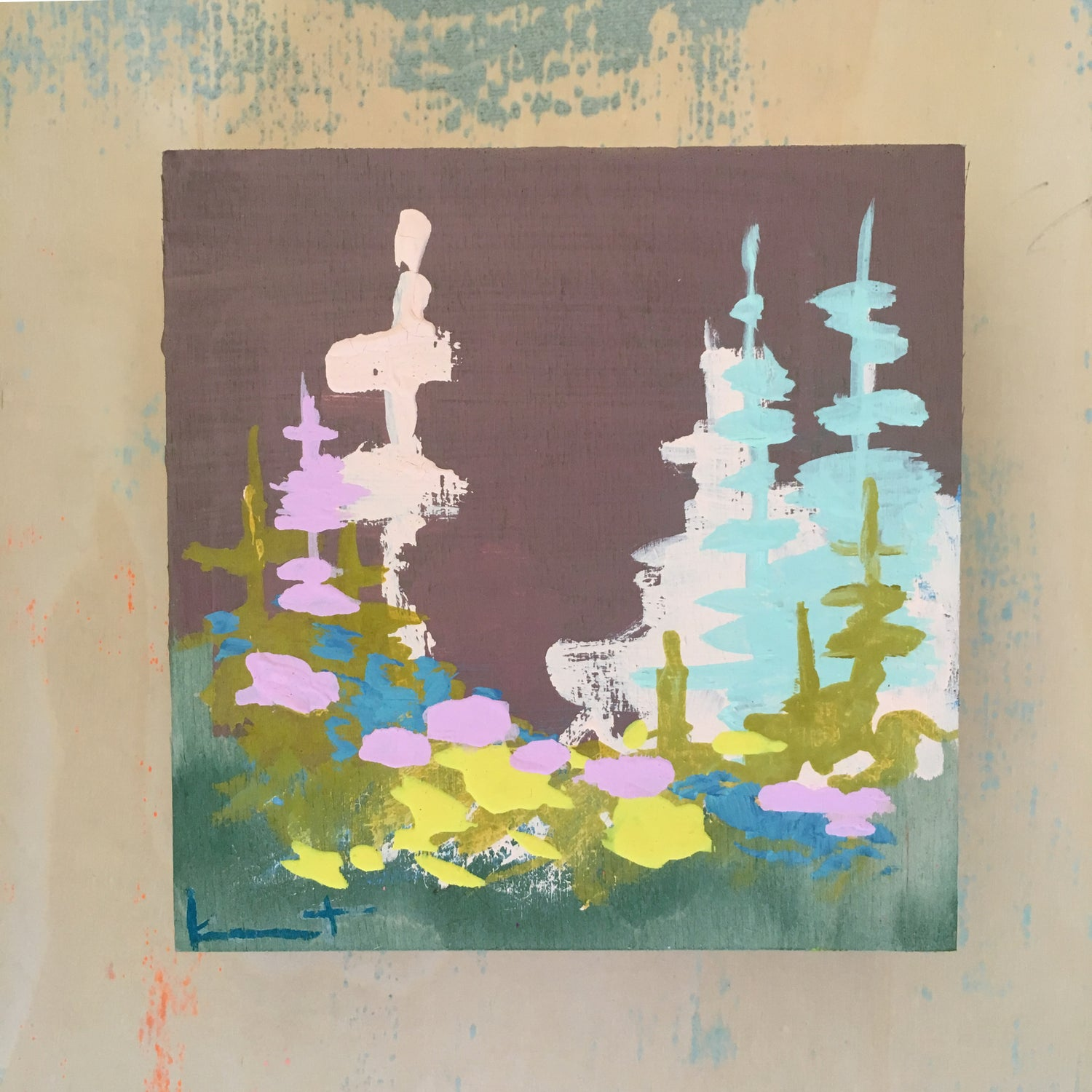 Image of Tiny Painting No. 61 (cement, robbin's egg, lilac)