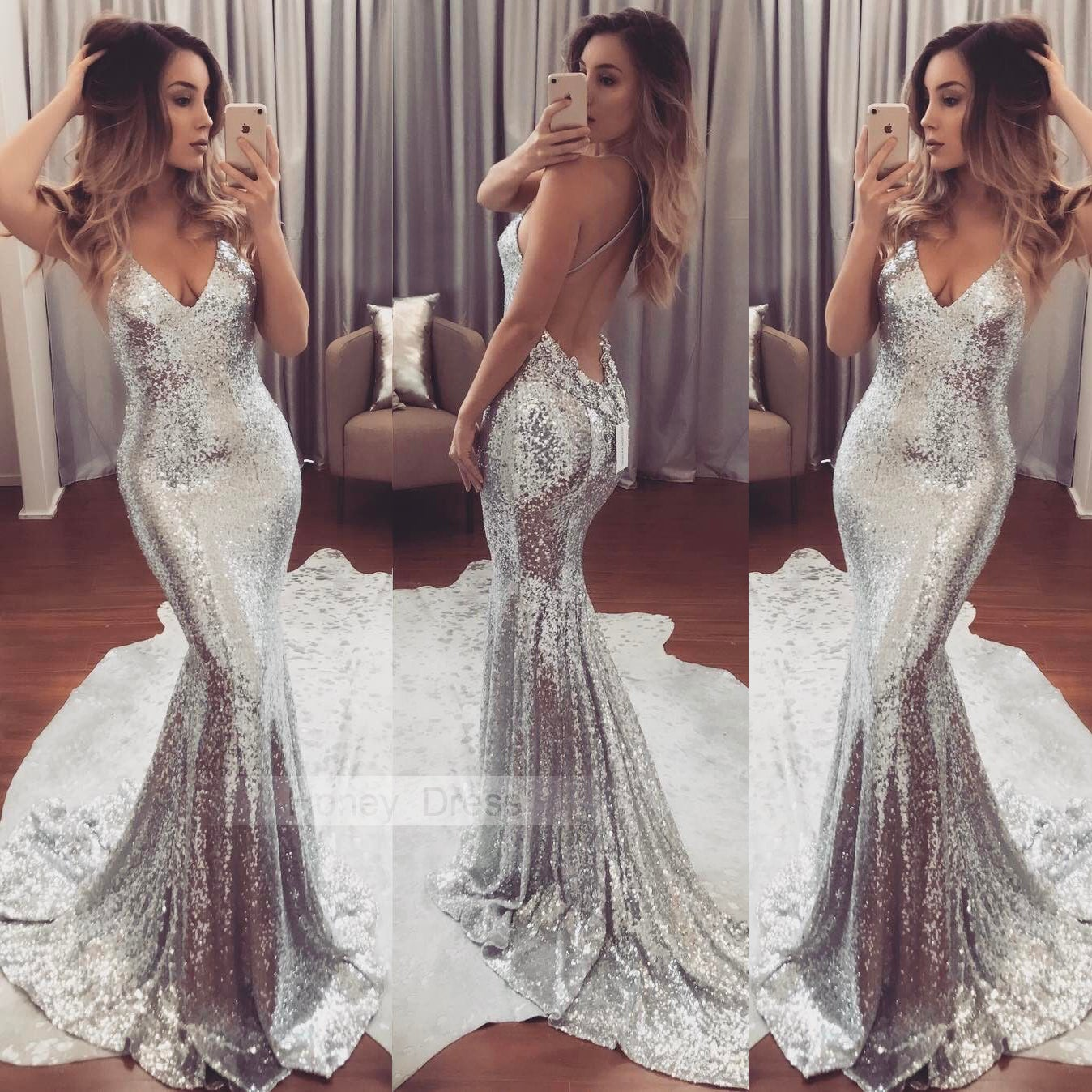 Long Glitter Prom Dresses