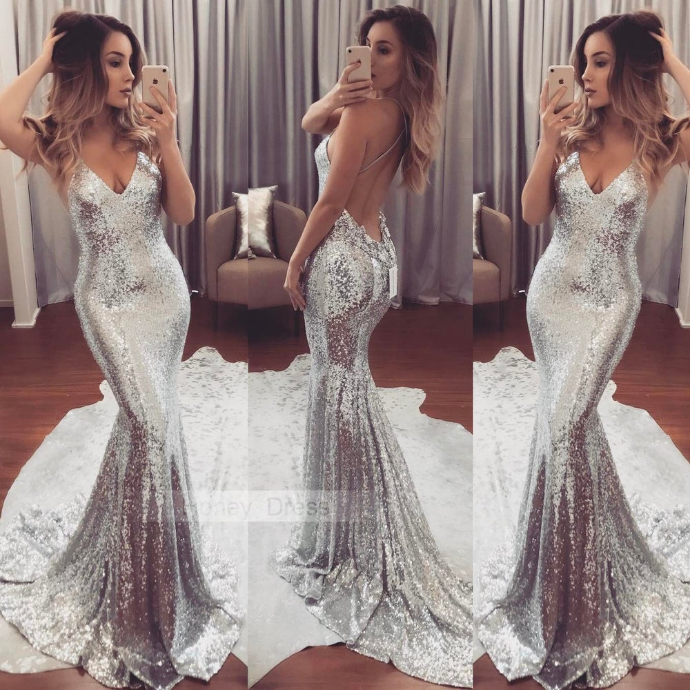Image of Sexy Silver Sparkly Sequins V Neckline Prom Dresses With Long Train
