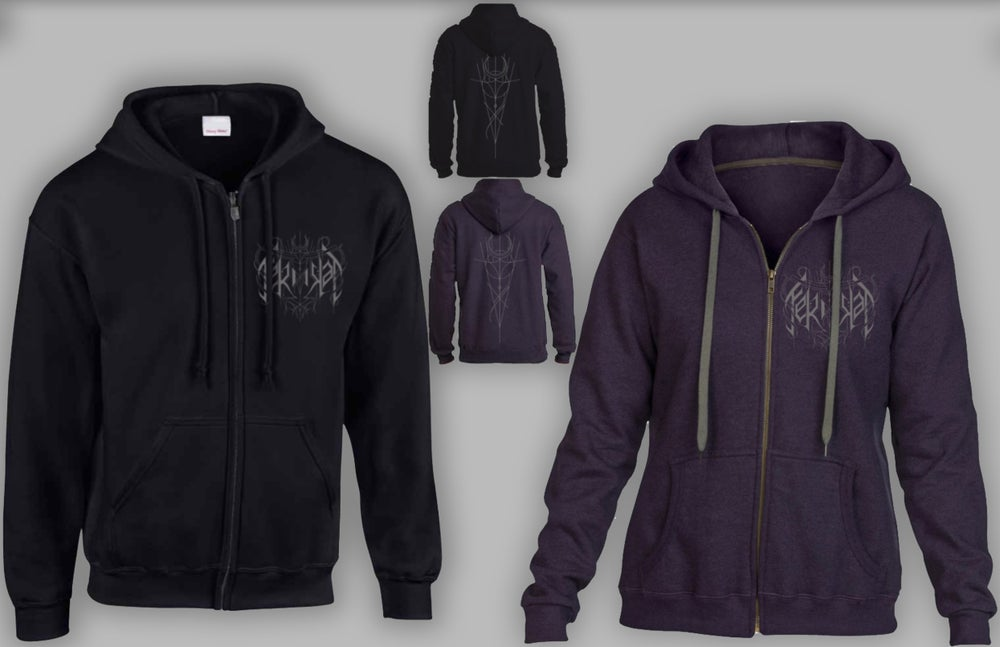 Image of Ferndal Logo Zip Hoodie Black OR Blackberry
