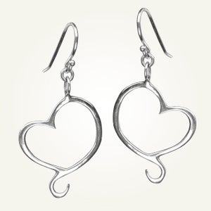 Image of Aphrodite Mini Heart Earrings, Sterling Silver