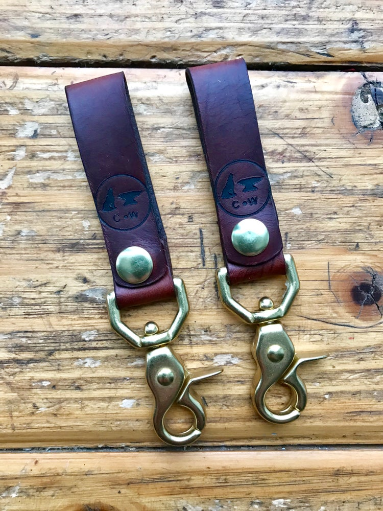 Image of Horween Horse Butt & Brass Belt Loop Key Chain
